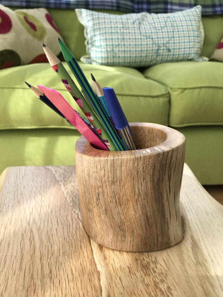 Oak driftwood pencil pot - 1